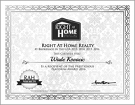 Right At Home Realty Platinum Seller's Award